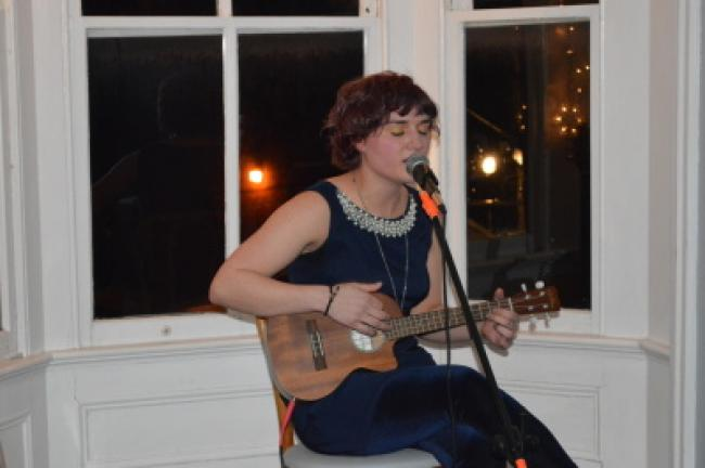 Bobbie Ann Craigie sings for the crowd during open mic night in Jim Thorpe.