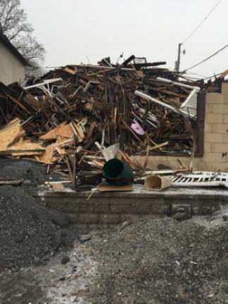 A look at what was once an apartment complex at the corner of Second and Coal streets in Lehighton. As of Tuesday afternoon, only rubble remained after a fire gutted the structure earlier this week. TERRY AHNER/TIMES NEWS