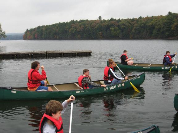 STACEY SOLT/SPECIAL TO THE TIMES NEWS Commonwealth Connection Academy students and parents paddle away from the docks of Beltzville Lake's boat launch. They were there for a school trip and ecotour, and planned to travel up Wild Creek to examine…