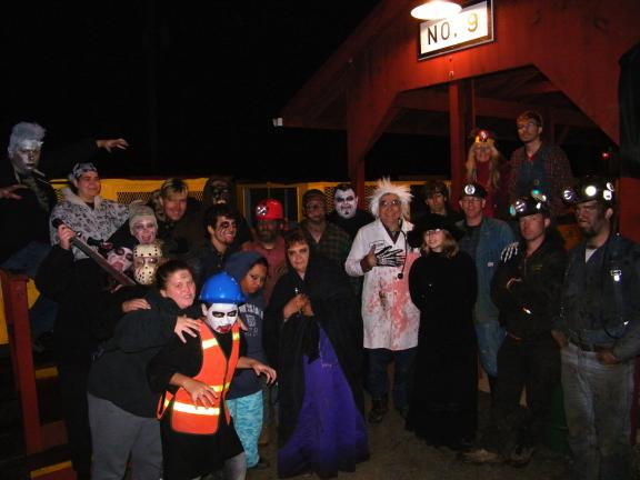 ANDREW LEIBENGUTH/SPECIAL TO THE TIMES NEWS Volunteers dressed as monsters and ghouls entertained visitors to the No. 9 Mine in Lansford over the weekend.