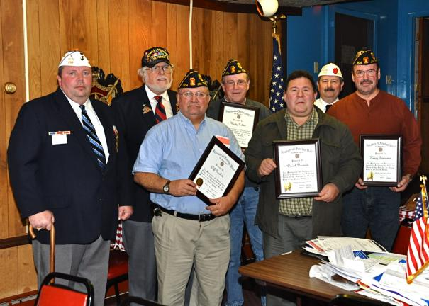 VICTOR IZZO/SPECIAL TO THE TIMES NEWS Present for the presentation of four Certificates of Appreciation from the National VFW were, left to right : Gilbert Henry, VFW Post 294; John F. Howard; Cliiff Goodhile; Marty Golden; Daniel Daccardi; Mike…