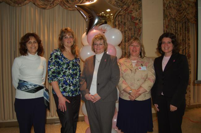Gail Maholick/TIMES NEWS Ladies Night Out committee members, from left, Lucille Hough; Gail David, RN; Lois Richards; Mary Lou McGeehan; and Denise Chickilly. Lisa Johnson was also a member.