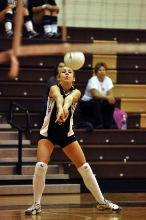MIKE FEIFEL/TIMES NEWS Chrissy Micholik of Panther Valley passes the ball during Saturday's District 11 Class AA Volleyball Tournament