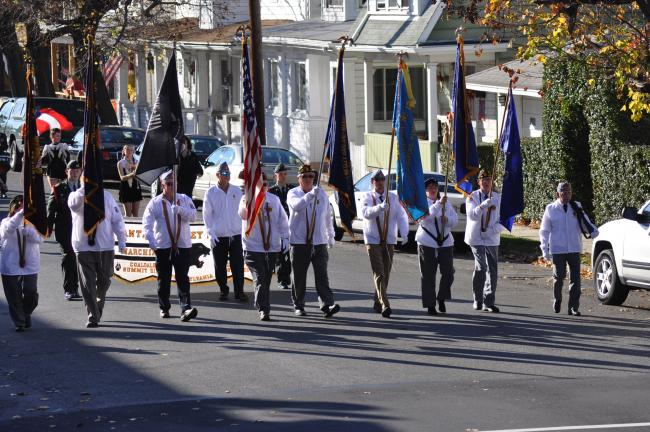 RON GOWER/TIMES NEWS The Lansford UVO leads the annual Carbon County Veterans Day parade Sunday in Lansford. The five-division march included veterans from throughout Carbon County, as well as six bands.