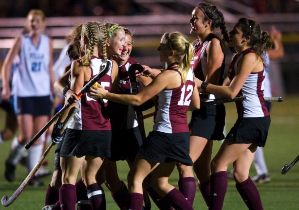 TIMES NEWS FILEPHOTO BY BOB FORD Lehighton players celebrate their win over Villa Marie Academy in the PIAA State semifinals on Tuesday. The Indians will play Selinsgrove for the State Championship today at 12 noon at Whitehall.