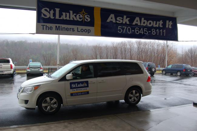 The Miners Loop shuttle van is parked in front of the entrance of St. Luke's Miners Memorial Hospital, Coaldale, waiting to transport patients between the St. Luke's Hospital and Health Network's facilities. JOE PLASKO/TIMES NEWS