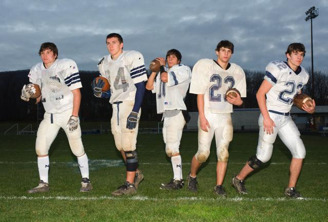 BOB FORD/TIMES NEWS Northern Lehigh's backfield will hope to have a strong game against North Schuylkill in Saturday's District 11 Class AA championship game. Members of the Bulldog attack include, from left, Cody Remaley, Matt Gill, Tyler Bolton,…