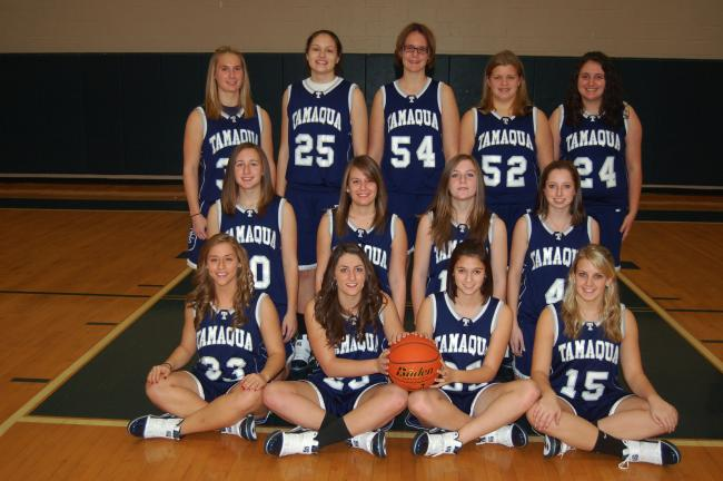 JOE PLASKO/TIMES NEWS Tamaqua girls basketball team members for the 2009-2010 season include, front row from left, Kali Chrush, Elissa Streisel, Shelby Hankins and Lauren Fedor. Second row, Christine Streisel, Megan Berezwick, Maria Streisel and…