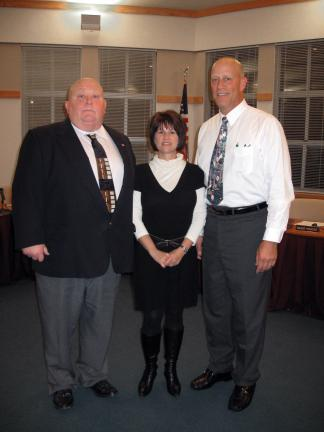 STACEY SOLT/SPECIAL TO THE TIMES NEWS Three members of the Lehighton Area School District School Board took an Oath of Office at the annual reorganization meeting. From left, William Hill, Tina Dowd, and David Krause. Krause, the board president, is…