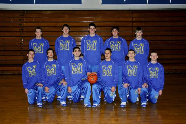 The Marian boys basketball team members are: Front row, l to r, Brian O'Donnell, Cody Decker, Mike Lack, Mark Stawick, Chris Barletta and Mike Nesgoda. Back row, same order, Ryan Gimbi, Matt Yaich, Drew Sherkness, Vini Fital, and Tommy Gottstein.