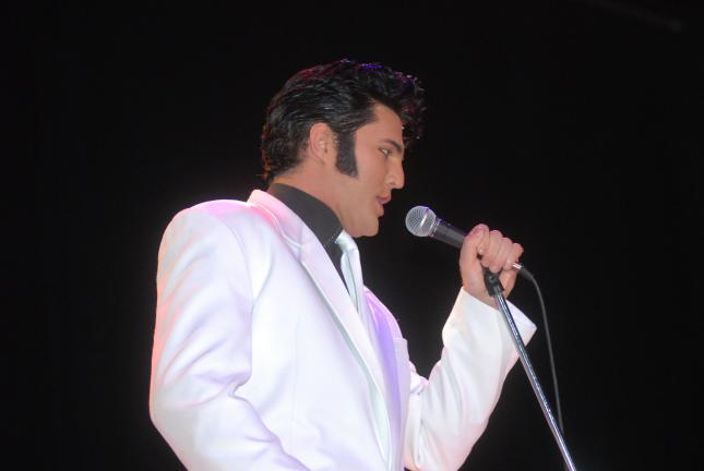 Ron Gower/TIMES NEWS Elvis impersonator Ryan Pelton makes a return appearance at Penn's Peak on Saturday night. Pelton will be doing an Elvis Christmas show. The concert begins at 8 p.m.