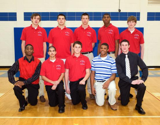 BOB FORD/TIMES NEWS Jim Thorpe boys basketball team members include, front row, from left, Kareem Mickens, Milton Moronta, Dane Ciavarella, P.J. Johnson and Sean Green. Back row, Sam Lux, Corey Cinicola, JT Otto, Rashid Epps and Ben Moore.