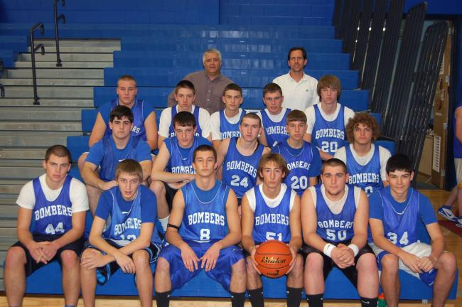 ED HEDES/TIMES NEWS The Palmerton boys basketball team consists of: Front, from left, Ryan Kleintop, Brett Snyder, Christian Marcin, Derek Furry, Derek Haas and Ben Andrews. Second row, same order, Joey Tyahla, Zach Freed, Brad Eaton, Mike Horvath…