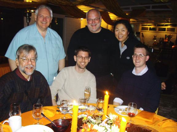 Thanksgiving with a few friends. FRONT: Mike Peters, China Daily; Brian Peach, Global Times; and Brandon Taylor, Beijing Review. BACK: Ken McManus, South China Morning Post); Jim Spear, School House owners; and his wife, Liang Tang.