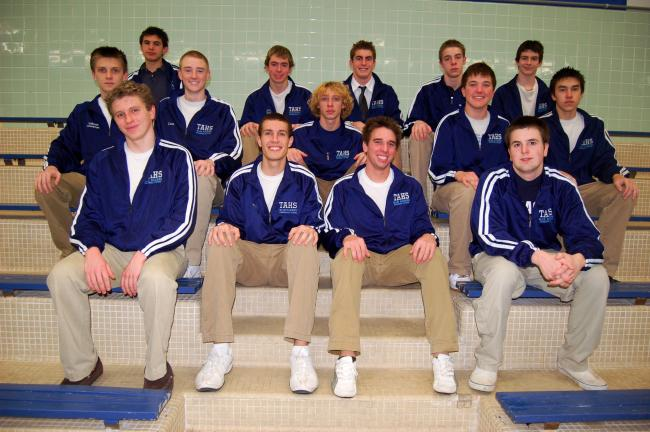 JOE PLASKO/TIMES NEWS Tamaqua boys swimming and diving team members are, front row from left, Tyler Butkus, Ricky Clemson, Dane DeWire and Steven Kupetz. Second row, Nathaniel Leibensperger, Corey McCann, John Scheitrum, Devin Smith and Daniel…