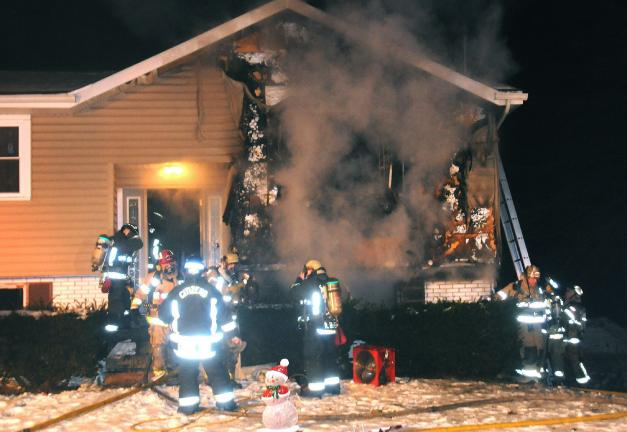 LARRY NEFF/SPECIAL TO THE TIMES NEWS A Rush Township home sustained heavy damage Saturday morning. Fire officials believe the fire started in the area of a wood burner.