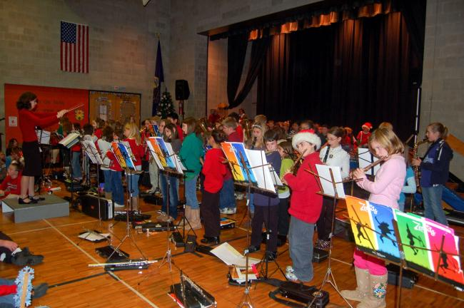 TERRY AHNER/TIMES NEWS Slatington Elementary students perform music as part of the Senior Program held inside the school gymnasium on Tuesday.