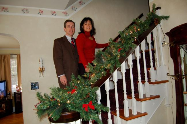 LINDA KOEHLER/TIMES NEWS Steve and Jenny Serfass decorated their stairway in their gracious Edgemont Ave. home for the Christmas holiday with beautiful lighted garland.