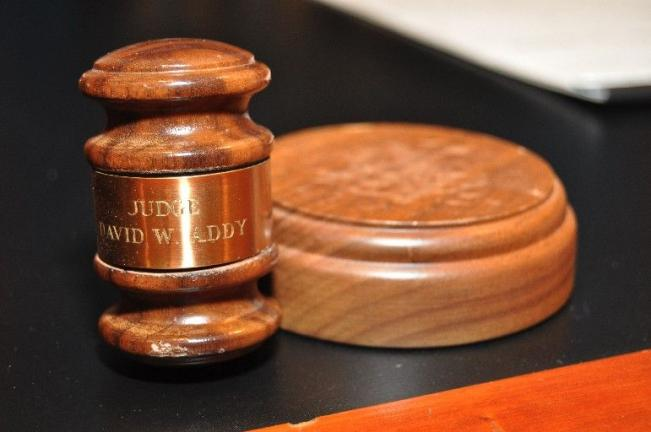 AMY ZUBEK/TIMES NEWS The gavel of the late Honorable David W. Addy rests on the bench in Carbon County Courtroom No. 2.
