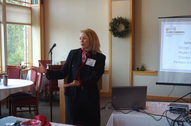 TERRY AHNER/TIMES NEWS  Dawn Ferrante, Carbon County Business/Education Partnership interim chairperson/director of the Carbon County Economic Development Department speaks during the Carbon County Business Education Partnership Breakfast Thursday…