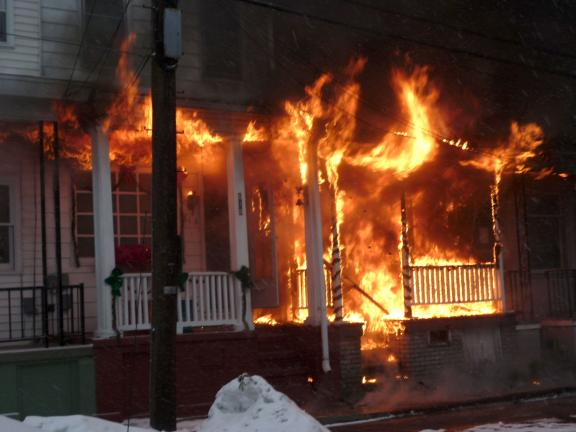 COURTNEY DOWNEY/SPECIAL TO THE TIMES NEWS Faulty Christmas tree lights started this fire in Mahanoy City Saturday morning