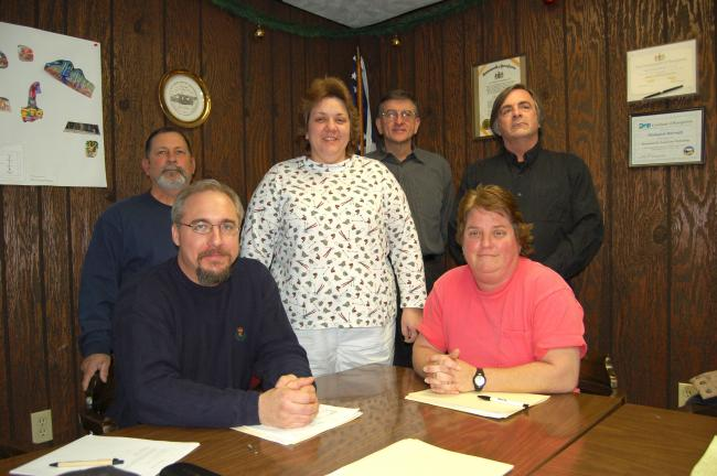 Gail Maholick/TIMES NEWS Weissport Council reorganized, seating new members and mayor. From left are, seated are Jonathan Troutman, mayor; and Sue Pywar; and back row, Moyer, Paulette Watson, Gene Kershner and Tim Rehrig.