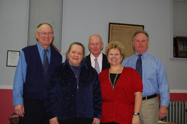 CHRIS PARKER/TIMES NEWS Newly-seated Coaldale Borough officials: left to right: Councilman Joseph Hnat, tax collector Cathy Papesh, Mayor Richard Corkery, Councilwoman Sue Solt and Councilman David Yelito.