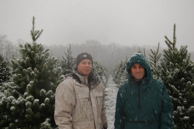 "STACEY SOLT/SPECIAL TO THE TIMES NEWS Rick Hansberry, left, the writer of ""Branches,"" stands with director Chris Messineo at Crystal Spring Tree Farm. While the two visited tree farms throughout the region, they were won over by the scenery and the…"