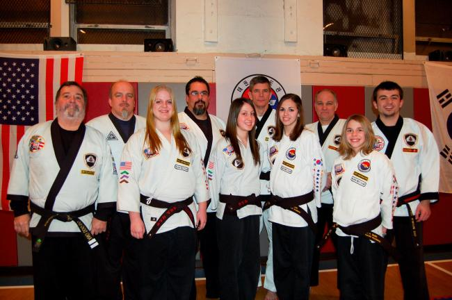 Gail Maholick/TIMES NEWS Mountain Karate Academy, awarded six students their Black Belt status. From left, front row,Rich Maglionico, instructor; Stevi Lenahan, Brianna Karpowicz, Brittni Smith, Alyssa Smith; and back row, Master Rich Gross, Shannon…