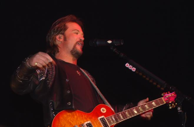 Ron Gower/TIMES NEWS Country singer Travis Tritt during a previous concert at Penn's Peak in Jim Thorpe. He's returning Saturday night for an acoustic performance.