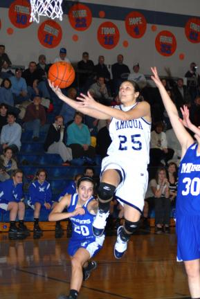 Ron Gower/TIMES NEWS Tamaqua's Amy Zehner goes in for a layup to make her first two points of the night against Minersville. She ended the evening with 34 points, which bring's the junior's career total to 1,018 points.