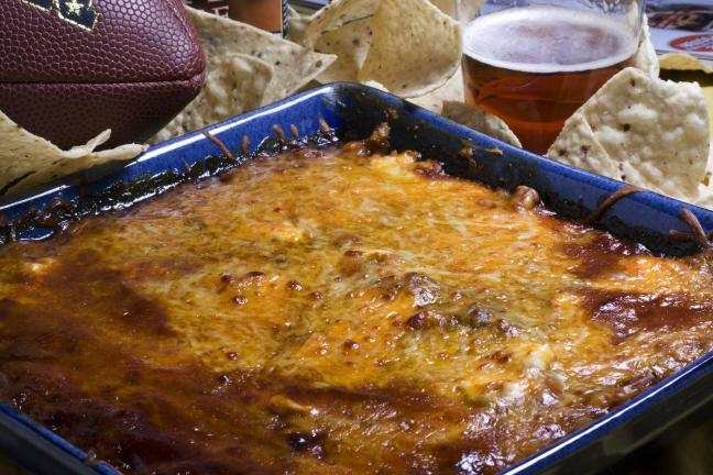 This photo taken jan. 17, 2010 shows barbecue baked bean cheese dip. Maple syrup and brown sugar will help make this barbecue baked bean cheese dip as memorable as the big game. (AP Photo/Larry Crowe)