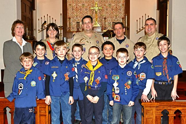 "VICTOR IZZO, SPECIAL TO THE TIMES NEWS Scouts from Cub Scout Pack 138 of Jim Thorpe who attended and participated in the Sunday service at St. John's Lutheran Church in the heights section of the town in observance of ""Scout Sunday"" are, from left…"