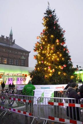 A Christmas tree in City Hall Square, Copenhagen, is lit by pedal power from a stationary bike.