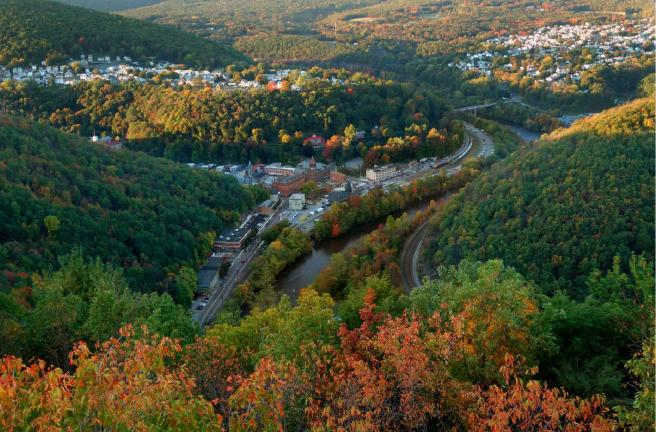 SPECIAL TO THE TIMES NEWS If a proposed sky tram becomes reality, passengers can expect this kind of view above Jim Thorpe during the fall foliage weeks.