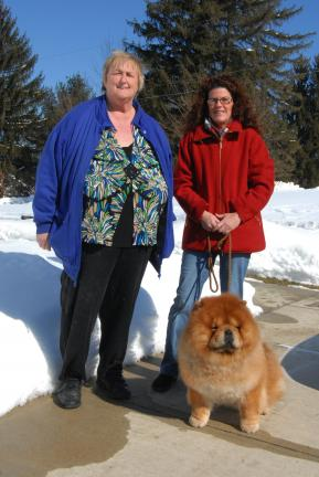 Ron Gower/TIMES NEWS Maddox, a chow chow, will be making his second appearance at Westminster Kennel Club Dog Show in Madison Square Garden on Monday. Last year he received an Award of Merit. With Maddox are Karen Tracy, left, of Franklin Township,…