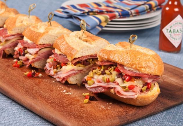 Photo courtesy of the McIlhenny Company Celebrate Mardi Gras with Muffuletta, an authentic New Orleans favorite.