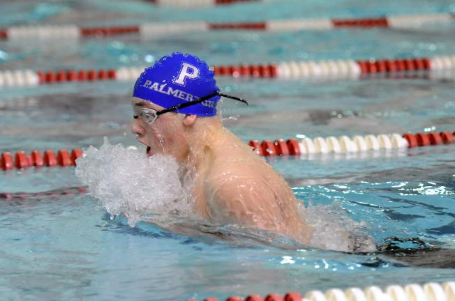 nancy scholz/special to the times news Palmerton's Sawyer Allen finished in a tie for first place in the 100-yard breaststroke to earn a District 11 Class AA gold medal.