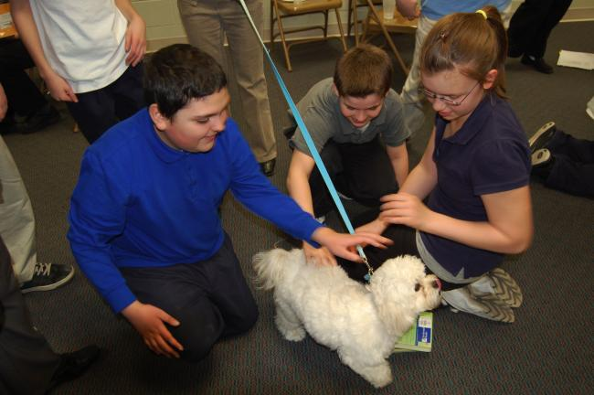 "LINDA KOEHLER/TIMES NEWS Joey, a Waggin' Tails Animal Shelter of Kresgeville success story, spends time getting acquainted with some Pleasant Valley Intermediate School students at a recent assembly. A few slurpy licks was his way of saying ""Thanks""…"