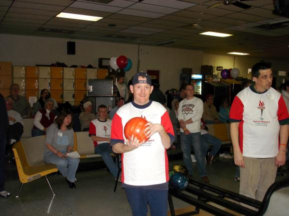 By MARY TOBIA/Special to the TIMES NEWS Wayne Branch gets ready to try his skill at bowling a strike during the Carbon County Special Olympics which was held recently at Haja Lanes in Palmerton. Branch was one of the fifty-two participants in the…