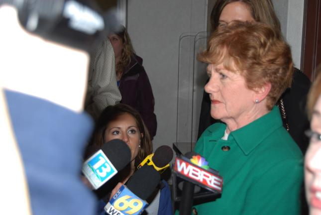 Mary Edith Rhoades, wife of the late state Sen. James Rhoades of Mahanoy City, talks to news media following the verdict in the case. The 2008 accident, which claimed the life of her husband.