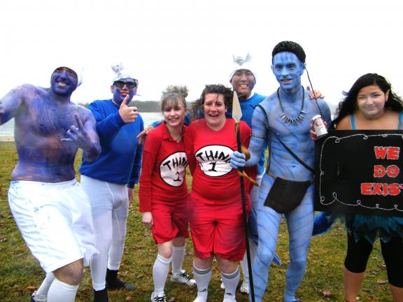 "Tamaqua YMCA volunteers pictured just before the ice plunge are, from left, ""Smurf"" Mike Bernadine, West Penn; ""Smurf"" Aaron Dotson, West Penn; ""Thing 1"" Laurie Campomizzi, Tamaqua; ""Thing 1"" Cynthia Sabol, Tamaqua, Tamaqua YMCA executive director; …"