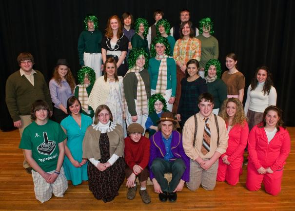 "STEVE SHINKO/SPECIAL TO THE TIMES NEWS The cast and characters of ""Willy Wonka"" incluce, front row, from left, Steven Moyer, Janan Shafer, Brittany Sheidy, Nicolai Kabana, Gwen Turner, Ryan Miorelli, Junian Gerace, Mallory Loughman and Emily…"