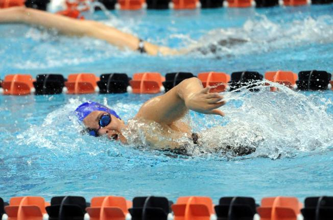 nancy scholz/special to the times news Palmerton's Shea Solt competes in the 500 freestyle at the PIAA Swimming Championships on Saturday. Solt finished fourth in the event.