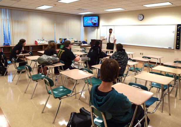 Teacher Steven Anderson instructs a Algebra 2 class at the Carbon Career & Technical Institute's new expansion wing.