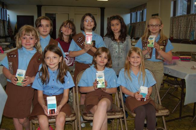 Gail Maholick/TIMES NEWS Members of Brownie Troop 3682, Lehighton, collected funds for Heifer International. The goal is to help poor families with the purchase of a few chickens with their donated funds that will provide eggs and training to pass…