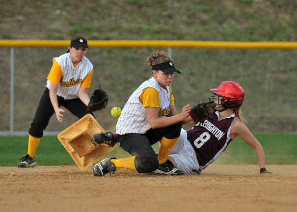 Steve Shinko/Special to the TIMES NEWS Panther Valley shortstop Karoline Vavra tries to block Lehighton's Echo Bretz from stealing second base during Monday's game at Panther Valley.