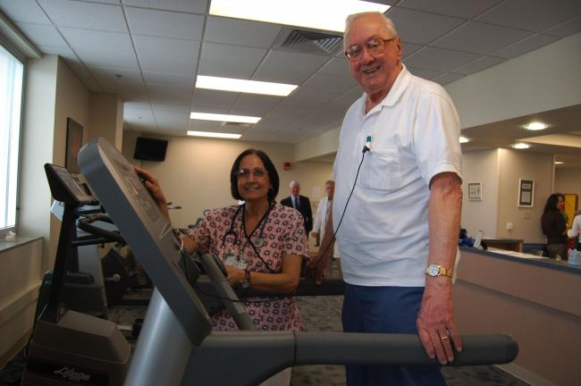 JOE PLASKO/TIMES NEWS George Wargo, Coaldale, gets set to use a treadmill in the newly relocated and refurbished cardiac and pulmonary rehabilitation departments at St. Luke's Miners Memorial Hospital, as therapist Anita Horvat gets set to monitor…