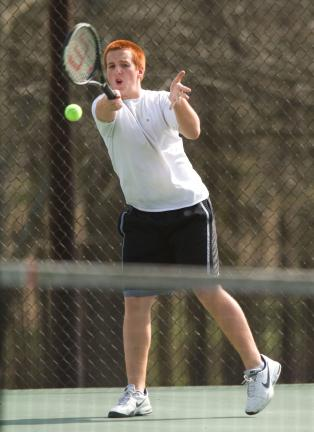 bob ford/times news Nick Mantz of Lehighton returns a shot during a singles match with Pleasant Valley.