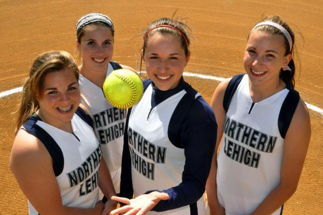 mike feifel/times news Northern Lehigh's deep pitching staff consists of, from left, Maggie Lear, Lauren Haberern, Julie Wagaman and Tamara Stubitz